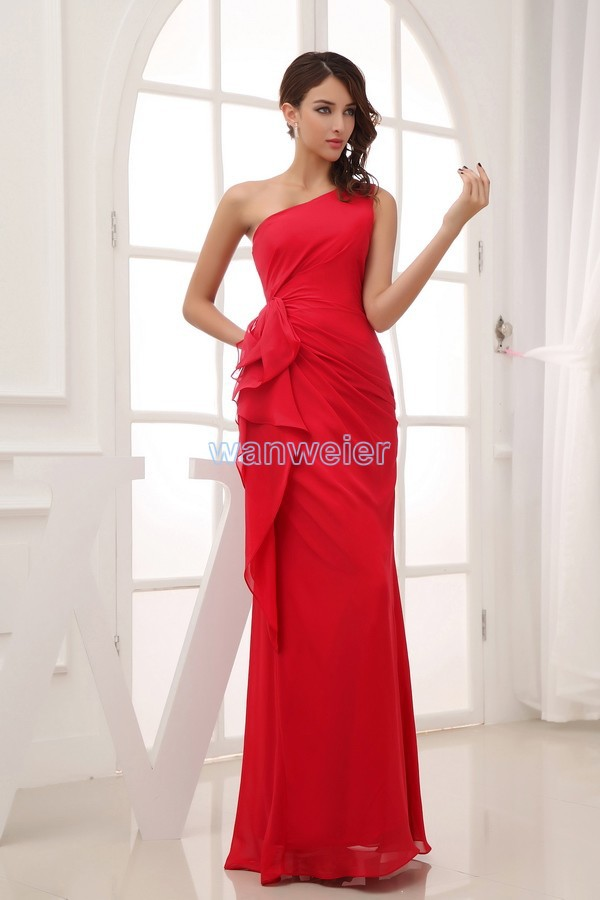 Free Shipping 2016 New Design Floor Length Brides Maid Dress Graduation Dresses Formal Dress Sexy Red Chiffon Bridesmaid Dresses