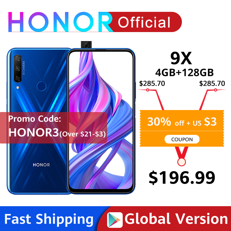 Global Version Honor 9X 4GB 128GB Smartphone 48MP AI Triples Camera 6.59'' Mobile Phone Google Play CellPhone