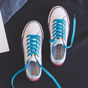 Image 4 - Moda mulher sapatos 2019 antumn arco íris mulher sapatos de lona moda casual retro novas sapatilhas plana rasa vulcanizada sapatos femininos