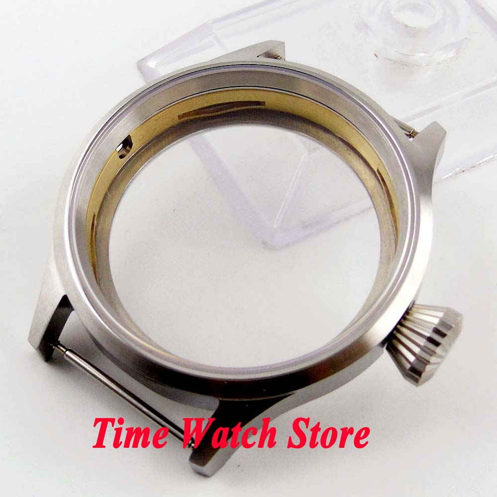 Parnis 43mm brushed watch case sapphire glass big crown 316L stainless steel Fit ETA 6497 6498 <font><b>ST3600</b></font> 3620 movement C03 image