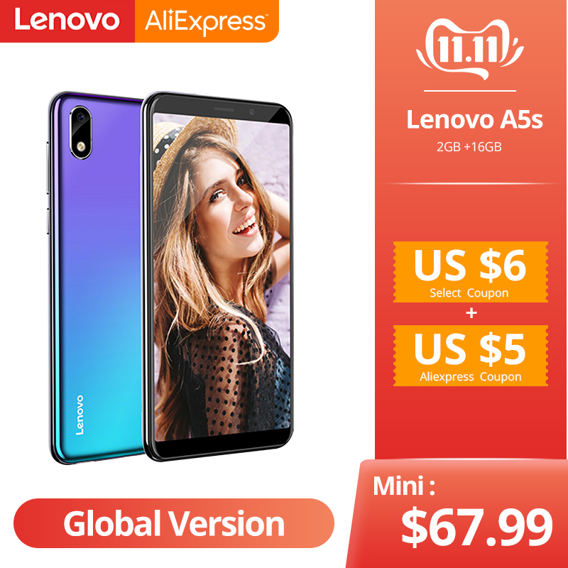 Global Version Lenovo A5S A5 S MTK6761 Quad core 5.45 inch Smartphone 2GB 16GB ROM Android P Face ID 4G Cellphone-in Cellphones from Cellphones & Telecommunications