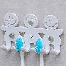 Держатель для зубных щеток с мультяшным смайликом, наборы для ванной комнаты, держатель для зубных щеток с 5 позициями, крючки на присоске, крючок для ванной
