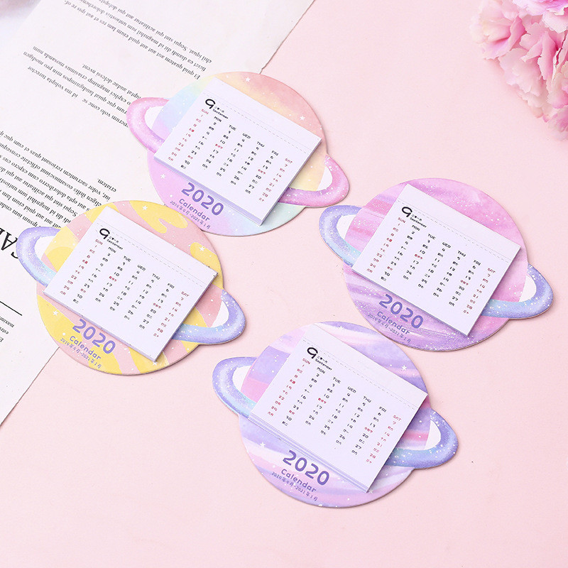 2020 Creative Colorful Planet Calendar Wall Sticker Mini Portable Calendars Daily Table Planner 2019.09~2020.12