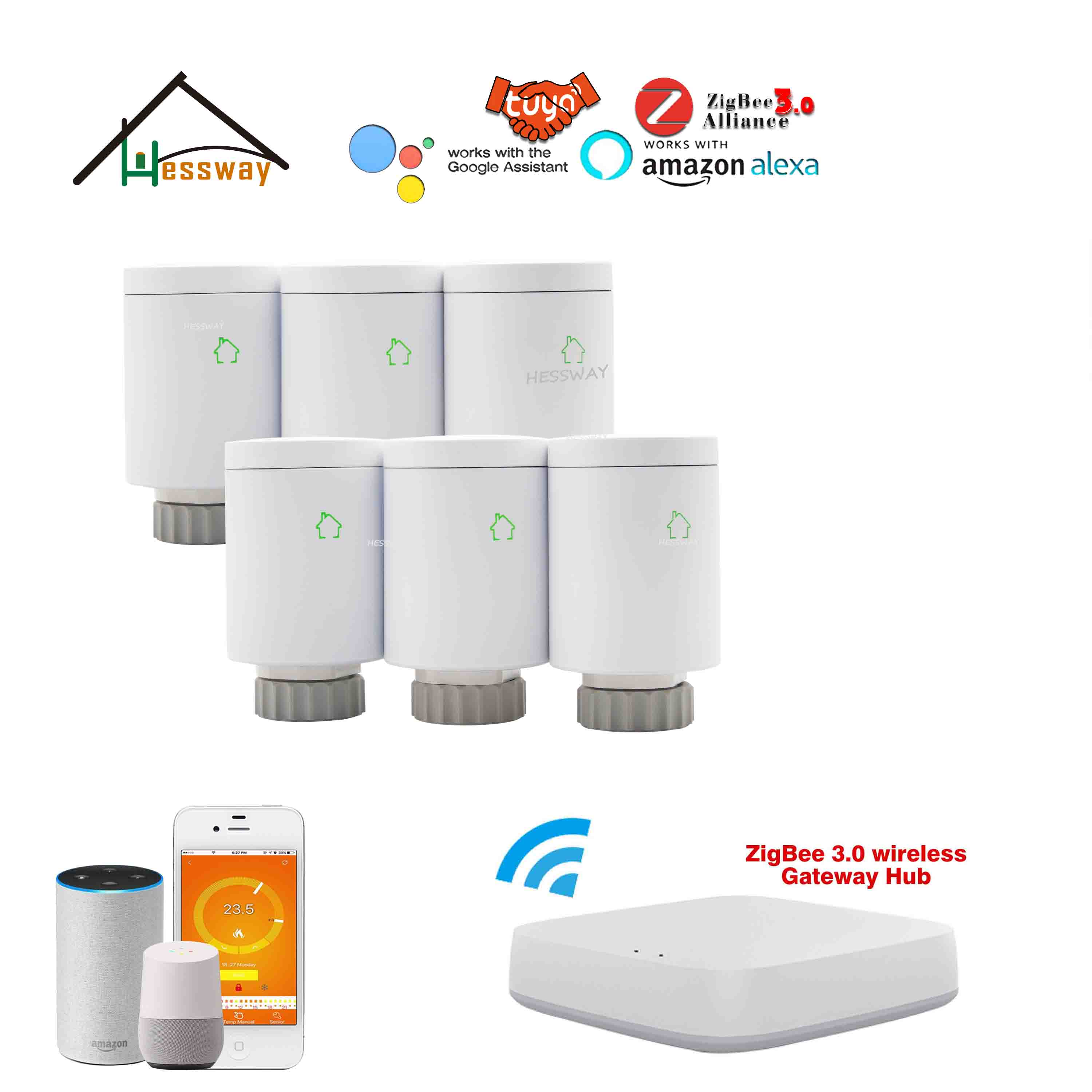 HESSWAY WIFI Tuya Zigbee Temperature Thermostat Valve For Smart Gateway Control Radiant Floor Heating