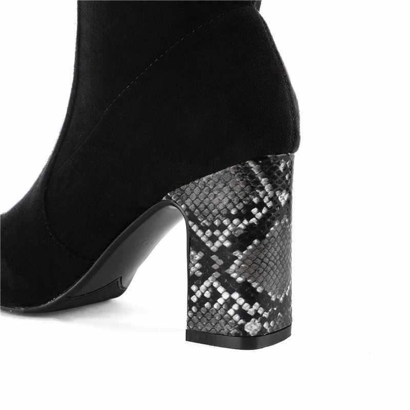 MEMUNIA 2020 yeni varış uyluk yüksek çizmeler kadın yılan kare yüksek topuklu ayakkabı sonbahar kış seksi ince streç çizmeler bayanlar