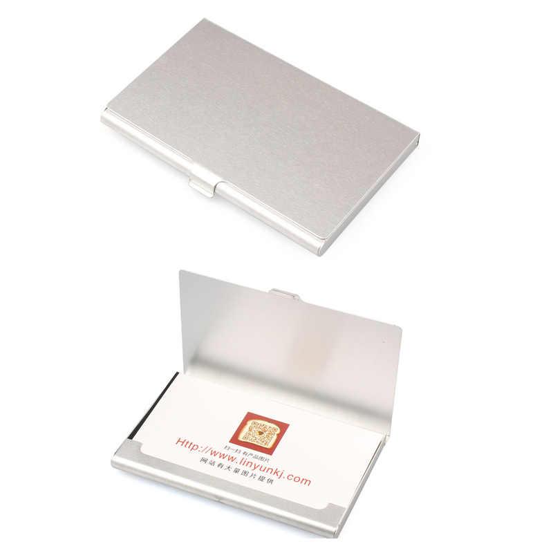 Funda de tarjeta de visita creativa Aelicy soporte de aluminio de acero inoxidable caja de Metal cubierta de crédito para hombres tarjetero de Metal