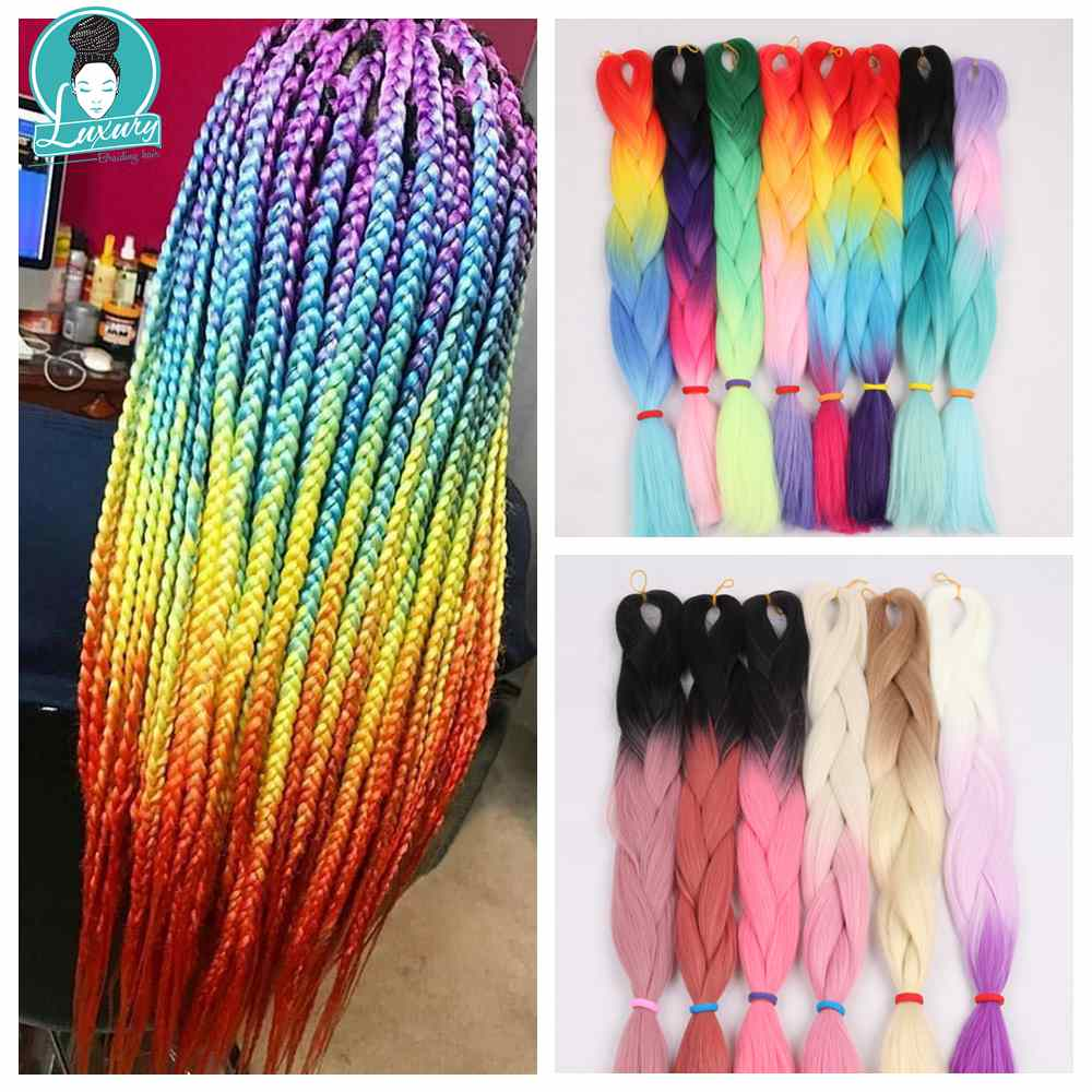 Luxury Four Braiding 2 3 4 Tone Rainbow Colored Crochet Braids Hair 24
