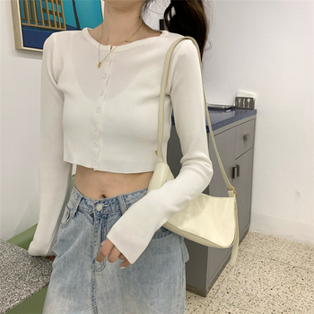 Ailegogo New 2020 Women's Sweaters Autumn Winter Solid Fashionable Buttons Casual Short Cropped Cardigans Knitwear SWC1121 2