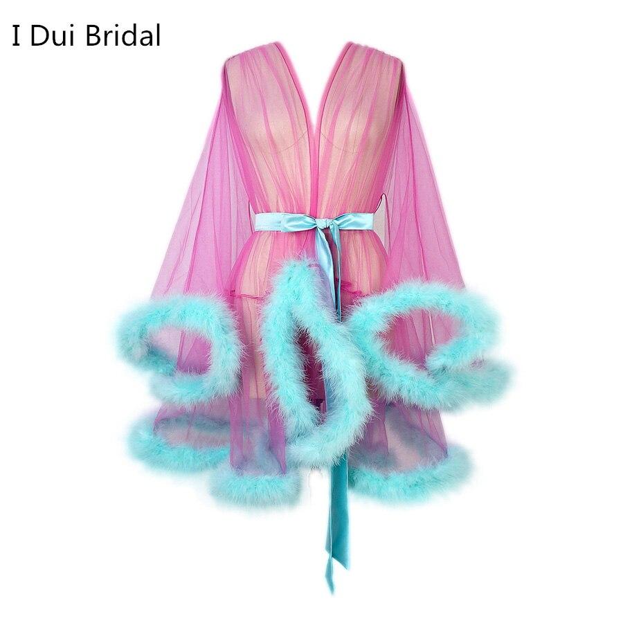 Mini Skirt Cocktail Feather Robe Boudoir Sheer Robe Tulle Illusion Birthday Feather Robe Party Costume