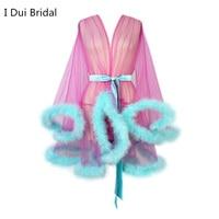 Short Marabou Robes Women Feather Robe Boudoir Sheer Robe Tulle Illusion Birthday Lingerie Women Robe
