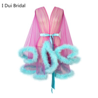 Túnicas cortas de marabú para mujer, bata de plumas, bata transparente de tul, ilusión, lencería de cumpleaños