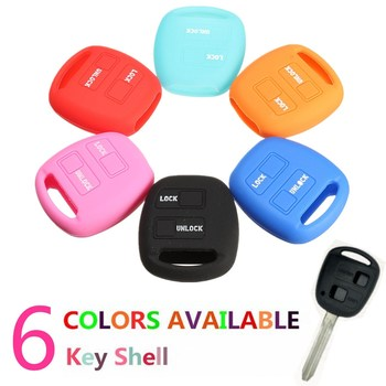 2 Botton Silicone Flip Key Shell Cover For TOYOTA Camry Corolla Rav4 Prado /Echo image