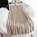 REALEFT шик бархатные юбки в складку, новая 2020 осень-зима с высокой талией, женские длинные юбки с ремнем в Корейском стиле Стиль юбки для женщин - фото