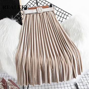 REALEFT Chic aksamitne plisowane spódnice nowy 2020 jesień zima wysokiej talii damskie długie spódnice z paskiem koreański styl spódnice kobiet tanie i dobre opinie Poliester CN (pochodzenie) Osób w wieku 18-35 lat Plisowana Skrzydeł WOMEN NSK303 empire Stałe vintage Połowy łydki