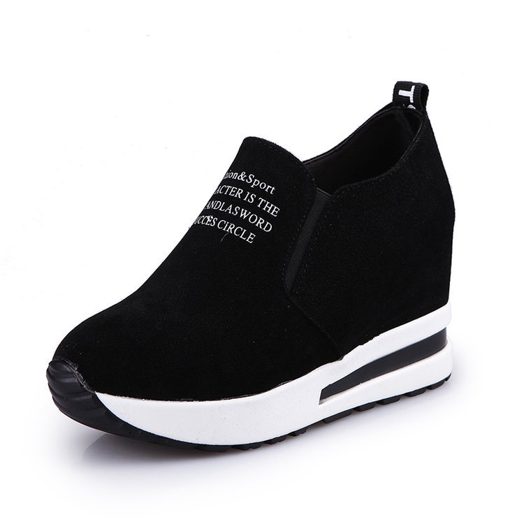 2019 New Autumn Letter Wedges Flock Shoes Thick Bottoms Increased Women Flat Platform Shoes Air Cushion Female Casual Sneakers