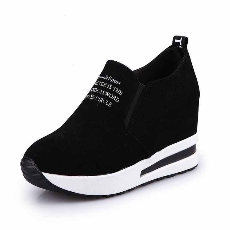 2019 nova carta de outono cunhas rebanho sapatos grossos bottoms aumentou mulher sapatos plataforma plana almofada ar feminino tênis casuais