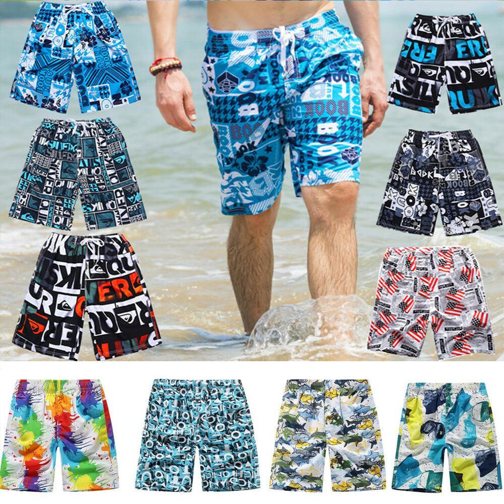 Random Men Casual Loose Beach Wear Shorts Male Quick Dry Elastic Waist Drawstring Pattern Print Fashion Board Shorts Leisure