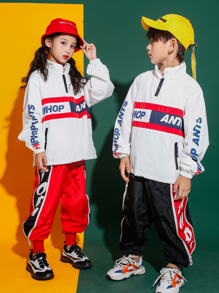 Kids Performance Jacket Coat White Tops Hip Hop Clothing Outfits For Girls Boys Jazz Dance Costume Ballroom Clothes Wear