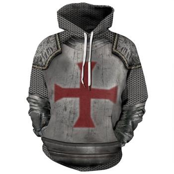 3D drukowane Knights Armor Templar Streetwear bluza z długim rękawem swetry śmieszne bluzy z kapturem i dresowe stranger things ubrania tanie i dobre opinie MARTIN FOX CN (pochodzenie) Pełne Na co dzień Drukuj REGULAR Z okrągłym kołnierzykiem Brak STANDARD COTTON POLIESTER