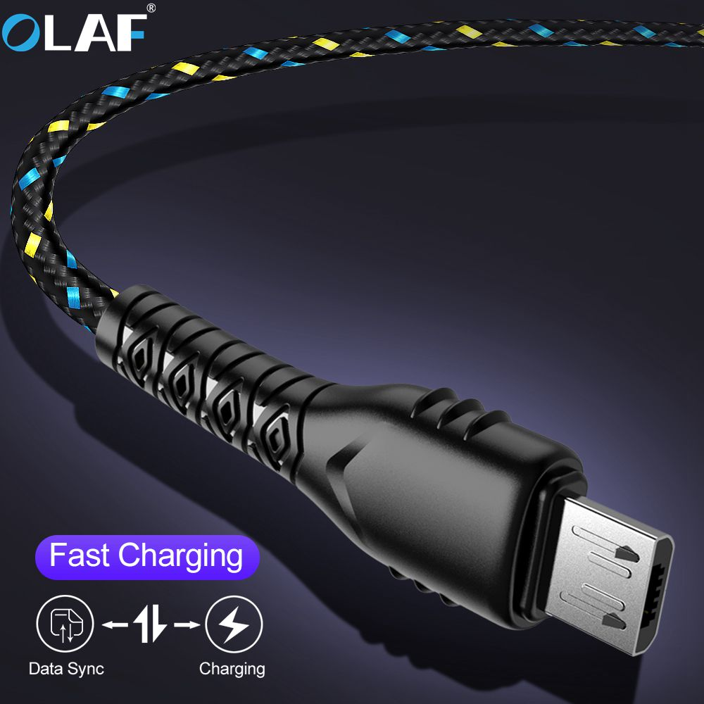 OLAF Micro USB Cable 1m 2m 3m Nylon Braided Fast Charging For Samsung Huawei Xiaomi Android Mobile Phone Charger