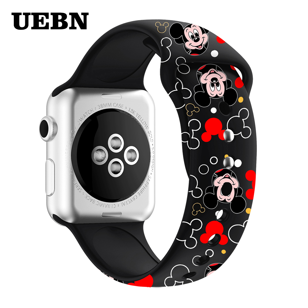 UEBN Silicone Band For Apple Watch 38 42 40 44mm Mickey Mouse Printing Replaceable Strap For Iwatch Series 5 4 3 2 1 Watchbands