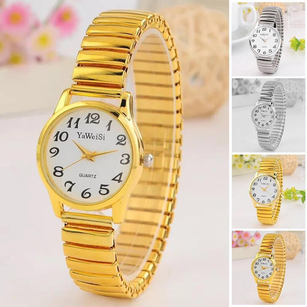 Elastic Band Watch Quartz Watch Expandable Stretch Band Strap Ladies Gents Unisex Wrist Watches