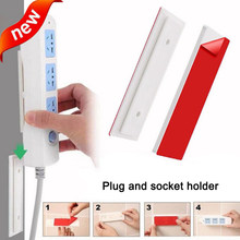 Soporte de enchufe sin costuras, cinta de doble cara, etiqueta de enchufe, fijador de pared, soporte de tira de alimentación para enchufes