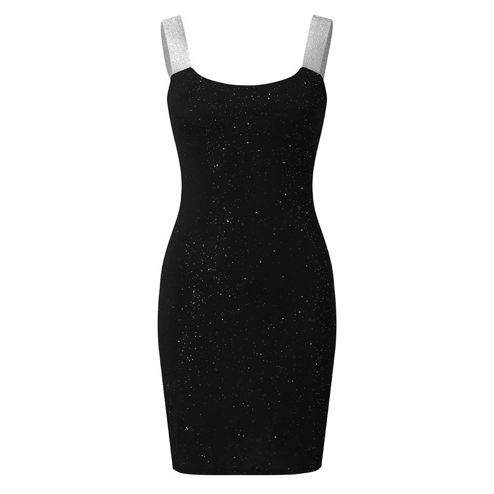 Sequin Party Dress Sexy Stitching Shining Club Sheath Summer Woman Dress Sleeveless Glitter Shimmer Backless Bodycon