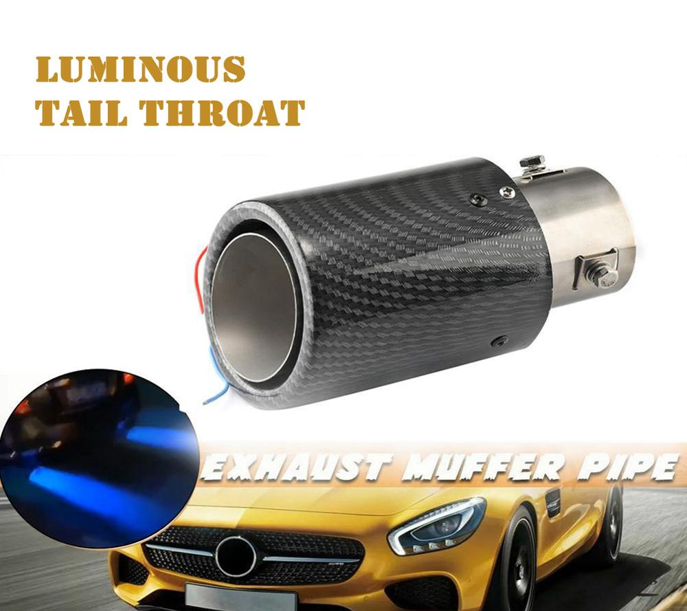 Car Exhaust Tail Pipes Glossy Carbon Fiber Luminous Tail Throat with Led Light Universal Stainless Steel Straight Exhaust System