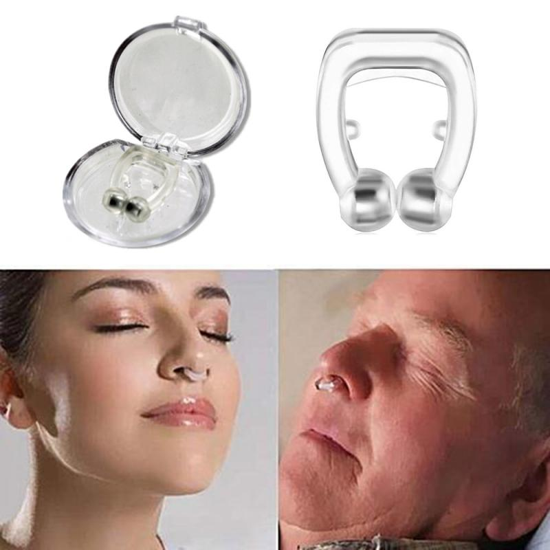 New 1 Pc Silicone Magnetic Anti Snore Stop Snoring Nose Clip Sleep Tray Sleeping Aid Apnea Guard Night Device With Case