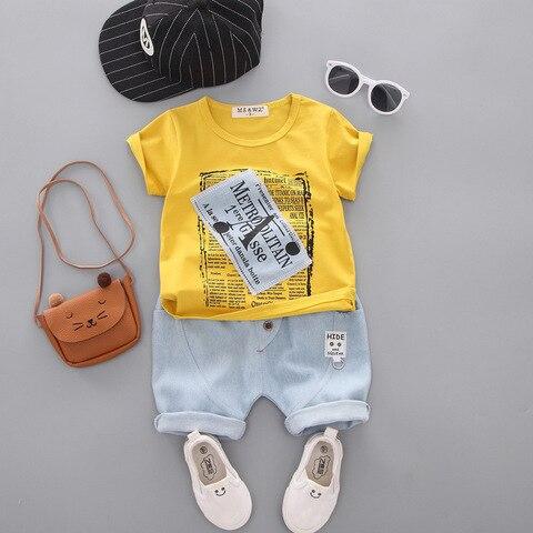 criancas novas roupas de algodao verao bebe meninos imprimir o pescoco t camisas denim shorts