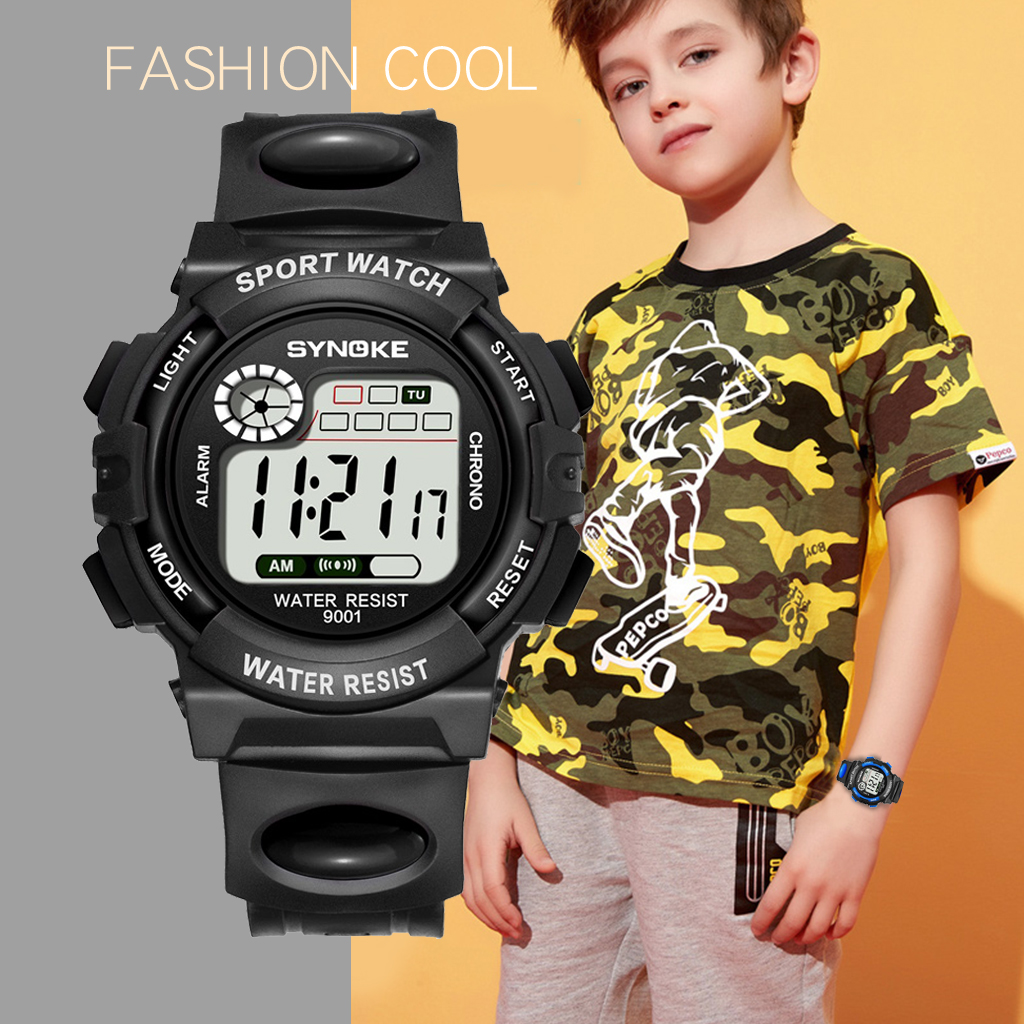 SYNOKE Children Watch Cartoon  Kids Watches Boys Outdoor Digital Kids Sports Back Light  Shock Resistant Colorful Reloj De Ninos