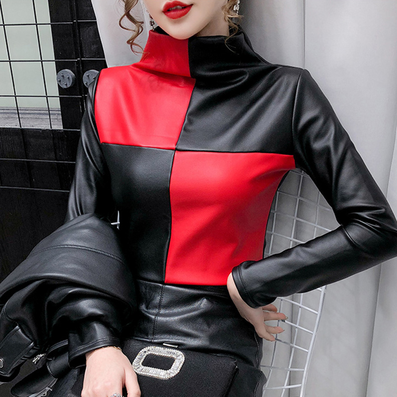 New 2021 Spring Autumn Women t-shirt Fashion Casual Long Sleeve Plus Velvet Thickening PU Leather Women Tops