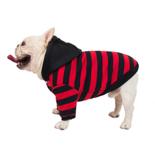 French Bulldog Corgi Pug Dog Small And Medium Pet Clothing Puppy Personality Striped Hooded Sweater