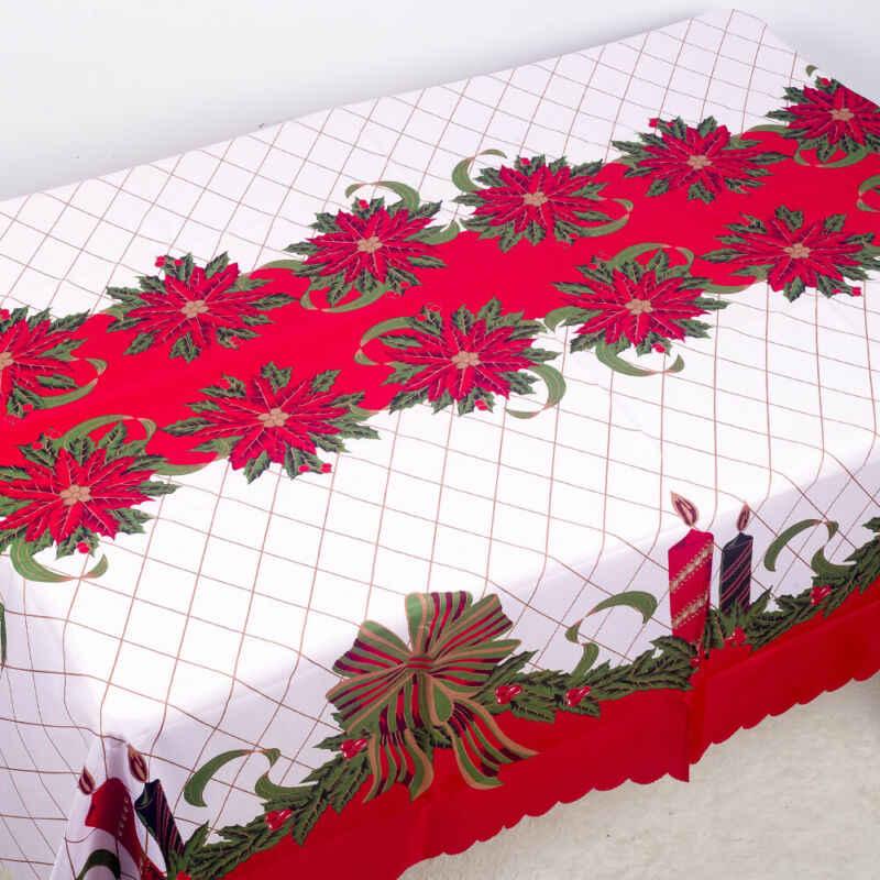 180x150 ซม.ผ้าปูโต๊ะคริสต์มาสดอกไม้ผ้า Jacquard Xmas ตารางผ้า 6 รูปแบบ
