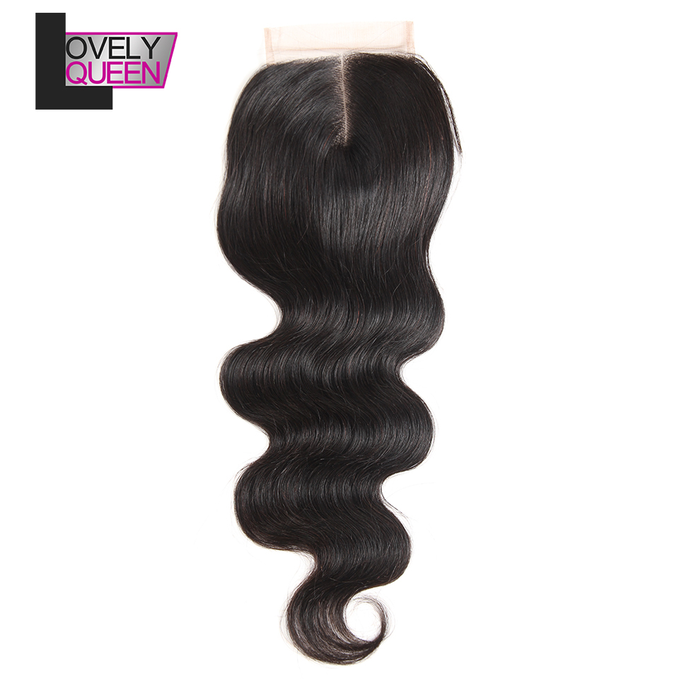 Brazilian Body Wave Closure Human Hair 4x4  Remy Hair 130% Density Natural Color