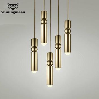Modern Art Decor Pendant Lights Nordic Gold Pendant Lamp Industrial Loft Stairs Hanging Lamp Kitchen Cafe Hanglamp Luminaria