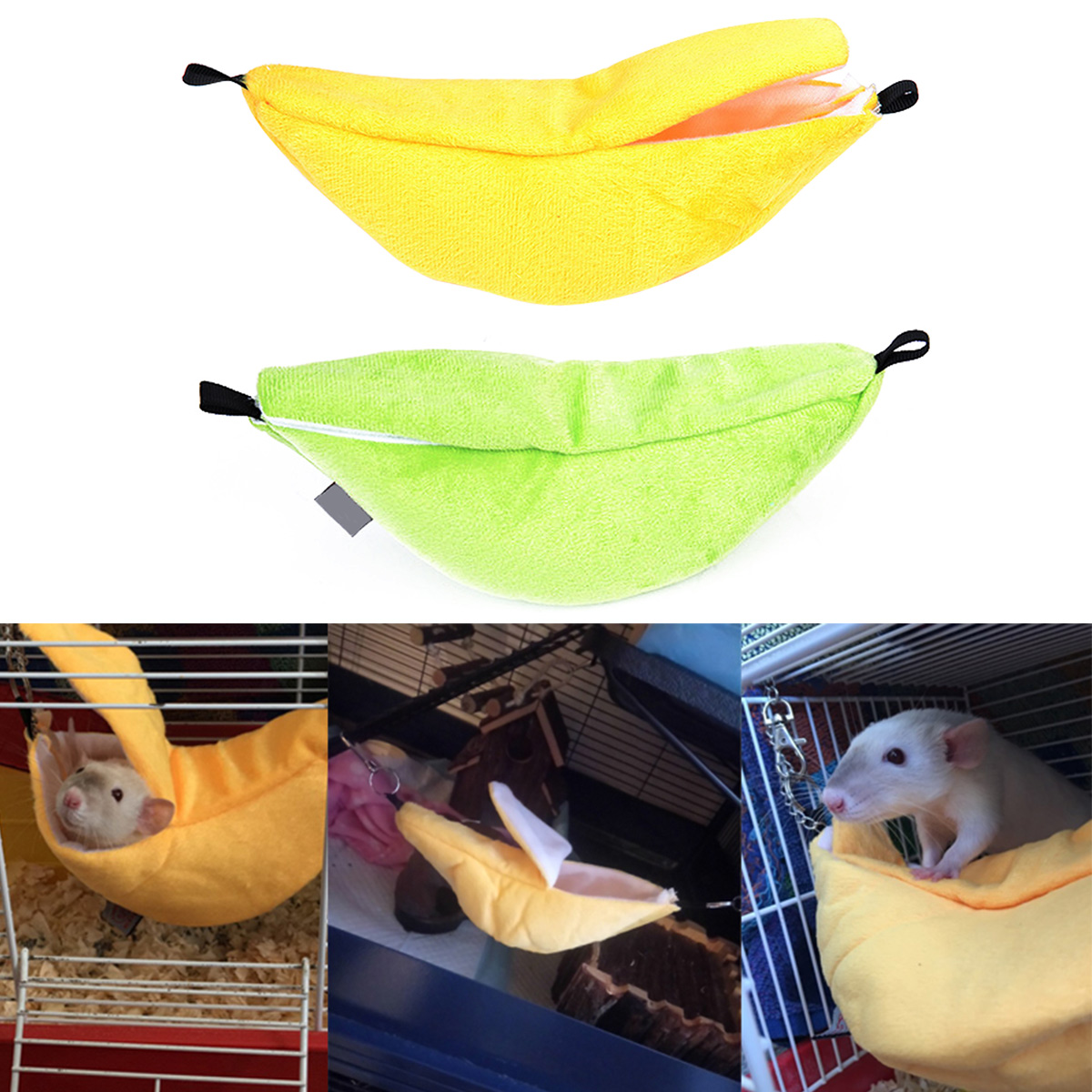 Hamster Nest Hanging House Hammock Cage Sleeping Nest Pet Bed Rat Hamster Toys Cage Swing Pet Banana Design For Small Animals(China)