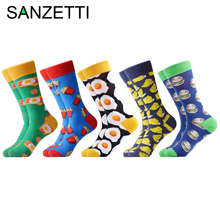 SANZETTI 5 Pairs/Lot New Style Men Casual Combed Cotton Happy Crew Socks Egg Fries Breakfast Party Gifts Creative Dress