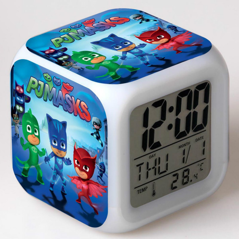 PJ Masks Alarm Clock Catboy Owlette Gekko Colorful Color LED Square Small Alarm Clock For Kids Birthday Christmas Gifts 2B48