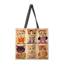 Японская иллюстрация кошка Женская Повседневная сумка складная