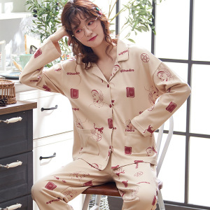 Image 3 - Autumn Winter Cotton Printing Lapel Top + Long Pant 2 Piece Sets Pajamas Set For Women Cute Sleepwear Pyjama Puls Size Homewear