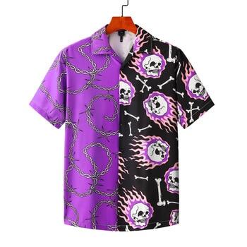 Koszula Purple Black Patchwork Vintage Shirt Summer New Men Hawaiian Short Sleeve Shirt Mens Printed Oversized Beach Shirts Man bob dong men s vintage wdf floral printed summer hawaii shirt short sleeve retro pattern beach casual hawaiian shirts for luau