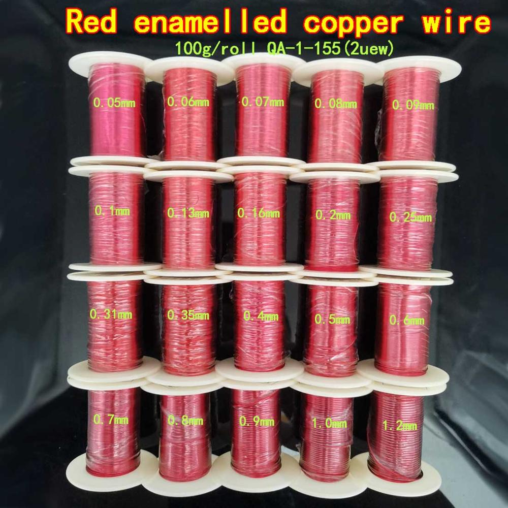 Enroulement de bobine magnétique rouge 100g   0.16 0.2 0.35 0.8mm, 0.9 fil de cuivre émaillé, bobine magnétique pour inductance de Machine électrique