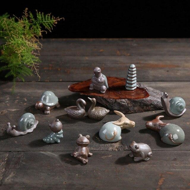 Mini Ceramic Crafts Creative Home Crafts Figurines Miniatures Tea Pet Bonsai Small Decoration Home Garden 1