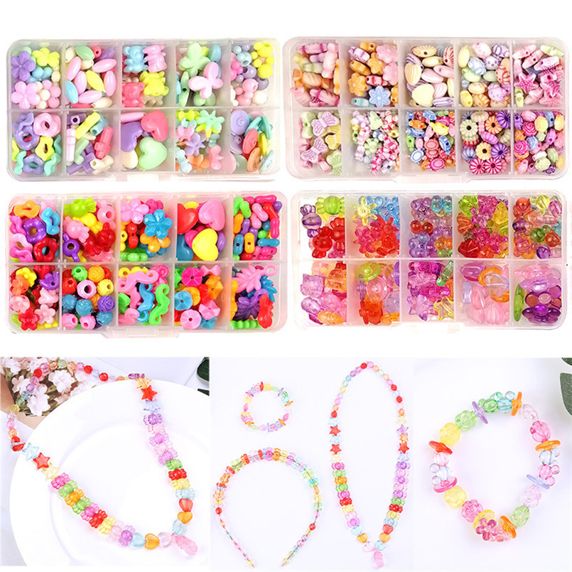 200/250pcs DIY Colorful Acrylic Beads Toys For Kids Handmade Necklace Bracelet String Beaded Puzzles Educational Toys For Girls