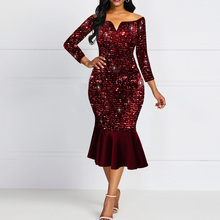 цена на Shiny Evening Off Shoulder Dress Women Bodycon Mermaid Ruffles Burgundy Plus Size Elegant Glitter Sequin Midi Party Dress Ladies