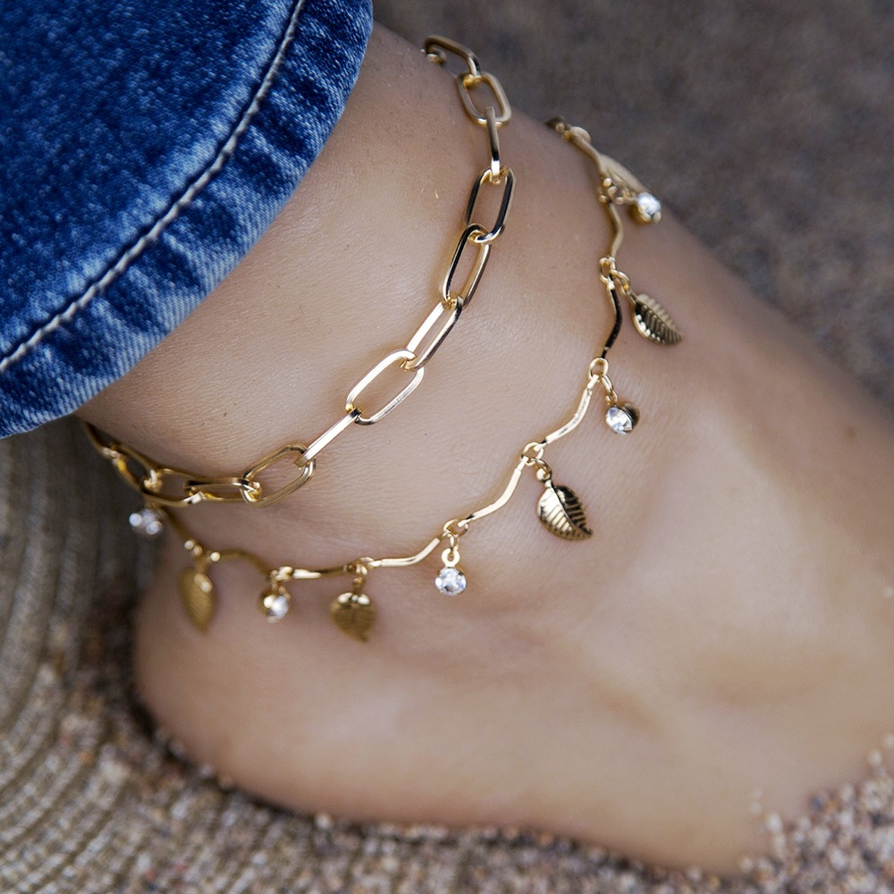 Vintage Bohemia Anklets For Women Gold Color Multilayer Chain Ankle Bracelet Foot Jewelry Beach Accessories