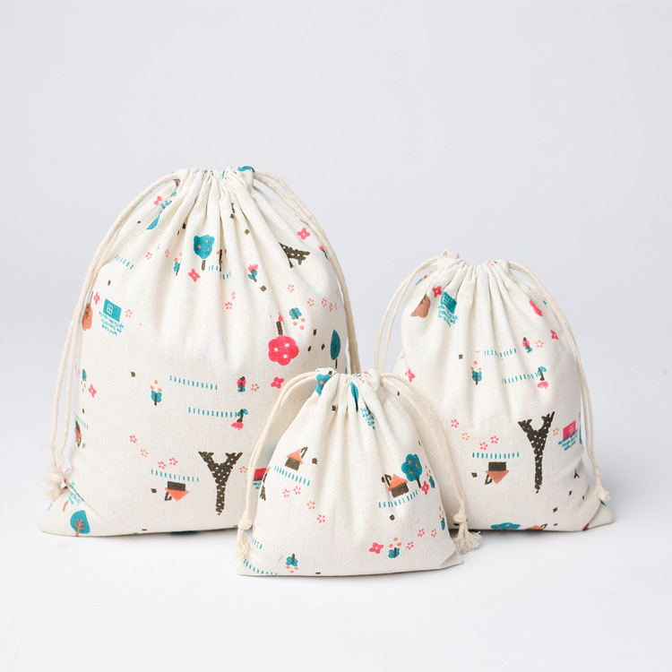 Women Cotton Linen Tower Printed Drawstring Bag Coffee Storage Pouch Bag Fabric Daily Use Home Travel Foldable Ladies Coin Purse