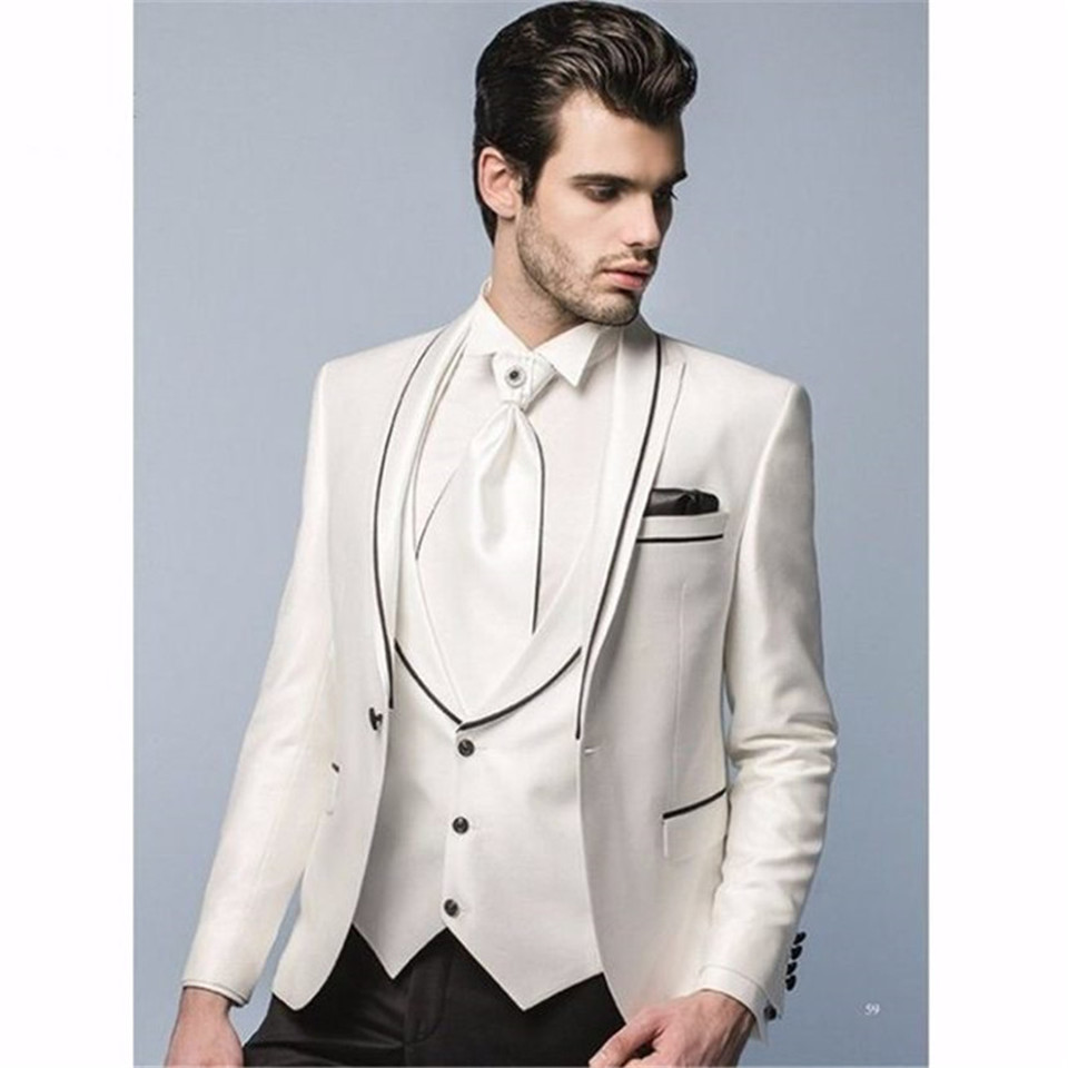 New Classic Men's Suit Smolking Noivo Terno Slim Fit Easculino Evening Suits For Men Ivory And Black Dinner Party Prom Groom Tux